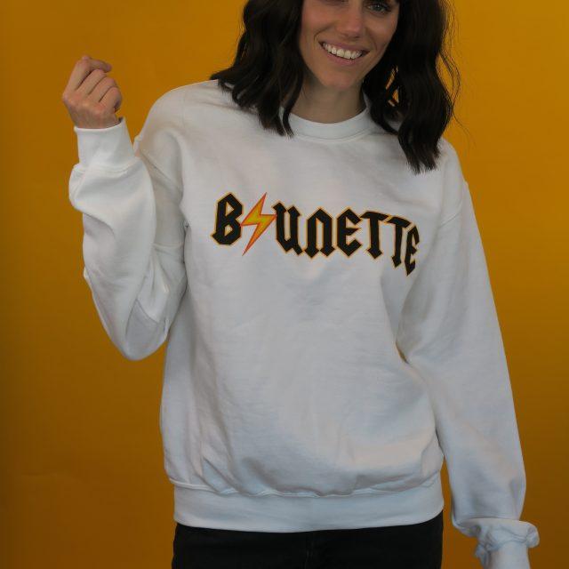 brunette acdc bolt white sweatshirt