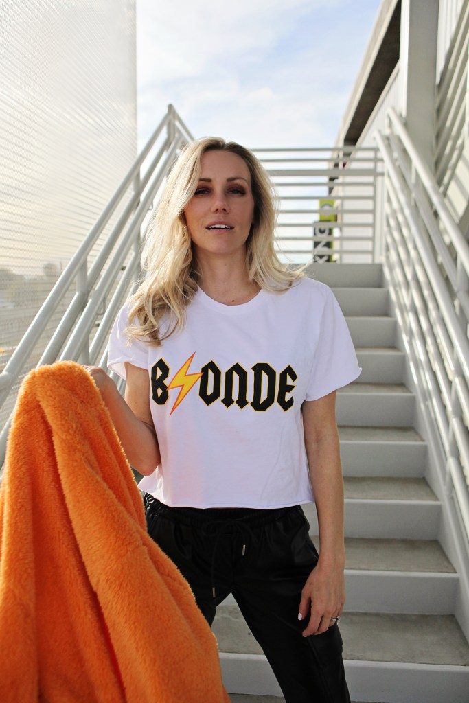 blonde acdc band tee