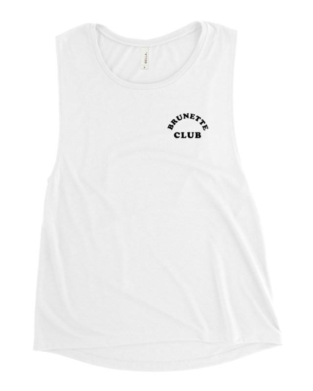 brunette hair club muscle tank