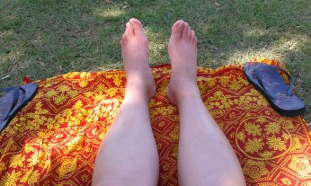 relaxing my swollen feet after a 15 hours bus ride