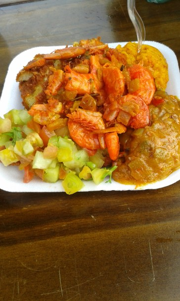 Acarajé - a dish sold everywhere in Salvador, the shrimps are eaten without being peeled.. *crunch munch*