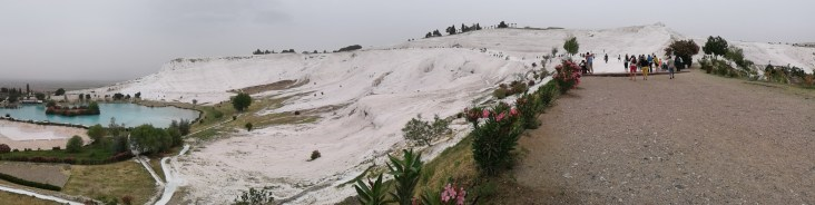 walking up the hill in Pamukkale