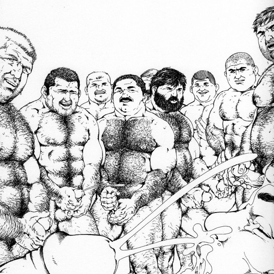 Group cumshot with dads and boys, by Bruno B.