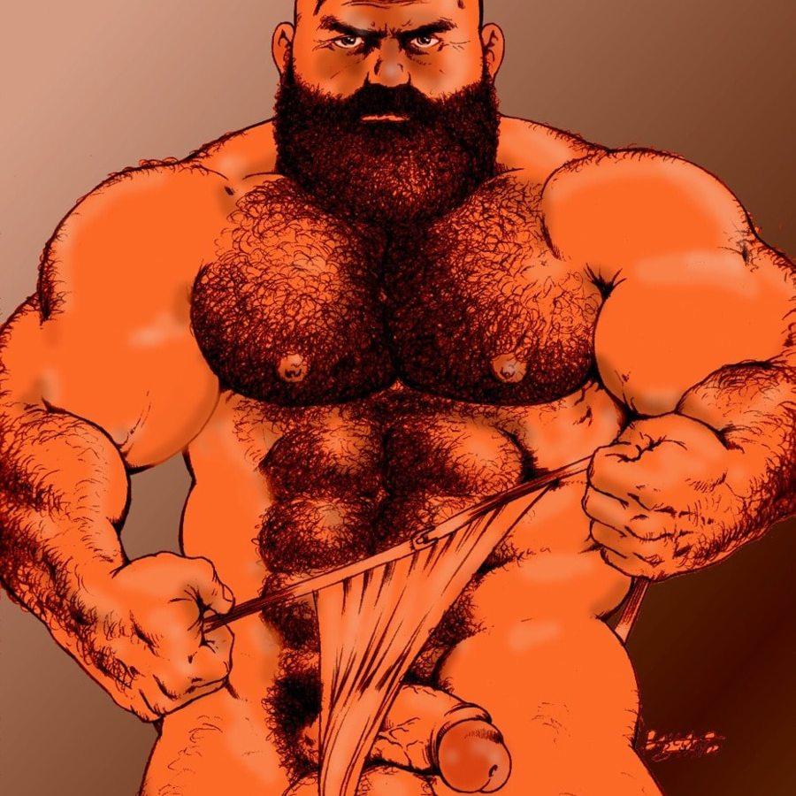 Bruno Bara hairy bodybuilder flops out of his fundoshi