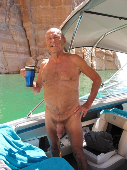 Penis proud grandfather, naked on his boat