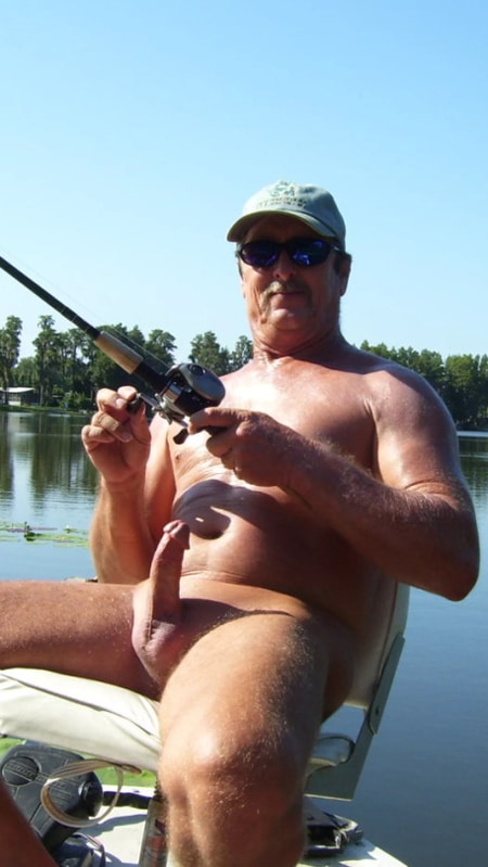 Dad with a boner while fishing