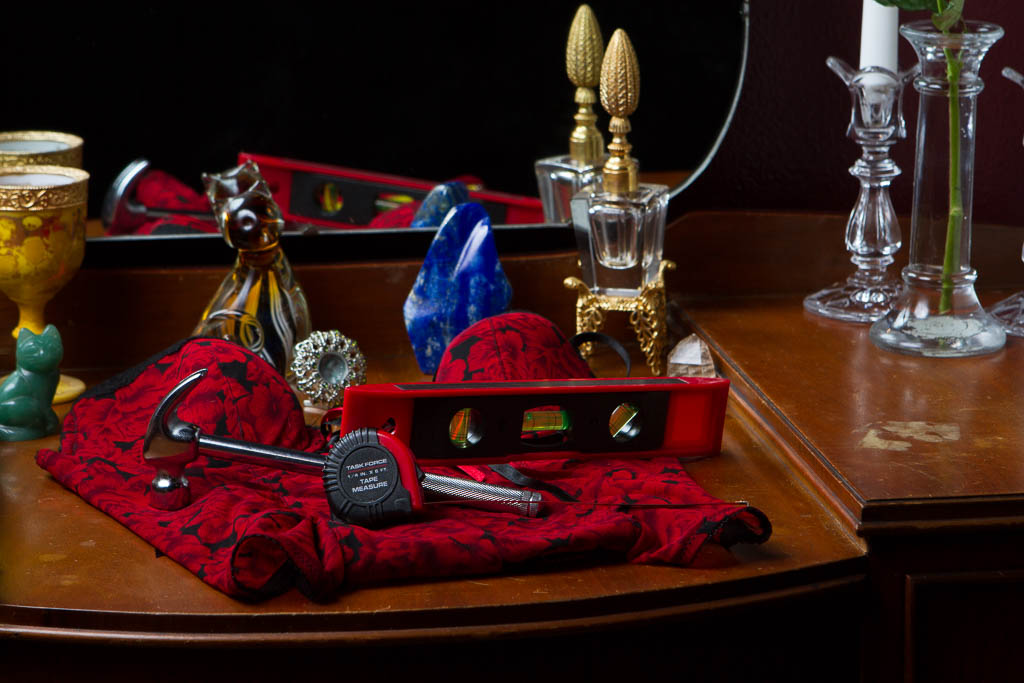 An image of a vanity with special knick knacks and tools.