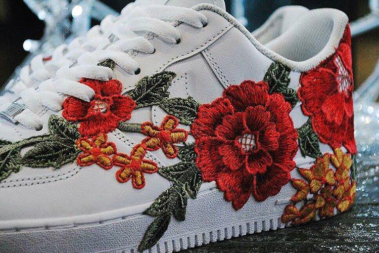 Nike Air Force 1 Flowerbomb Flower Embroidery Custom - 78521