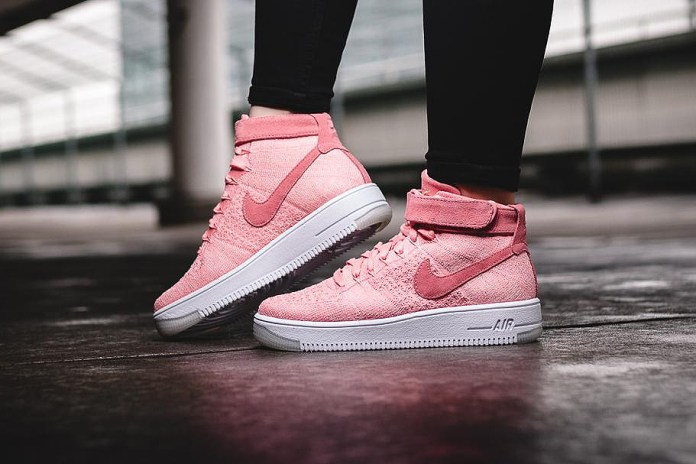"The Nike Air Force 1 Flyknit Mid Gets The ""Rose"" Treatment"