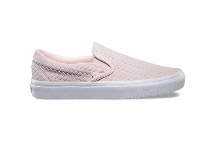 Pink Quietly Whispers Across the Vans Woven Slip-On