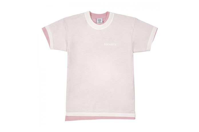 Twice the Vetements: The Securite Double T-Shirt Is Layered on Pink