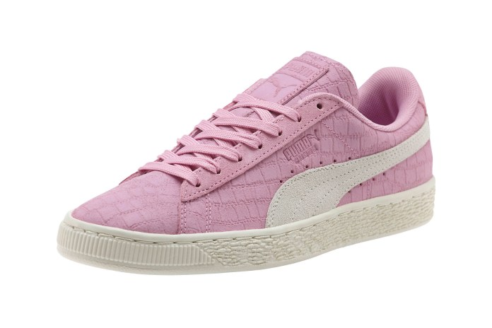 The PUMA Suede Classic Croc Emboss Looks Like It's Quilted With Pink