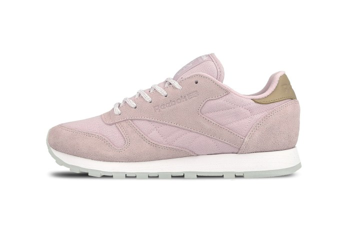 The Reebok Classic Leather Blushes in Pale Pink