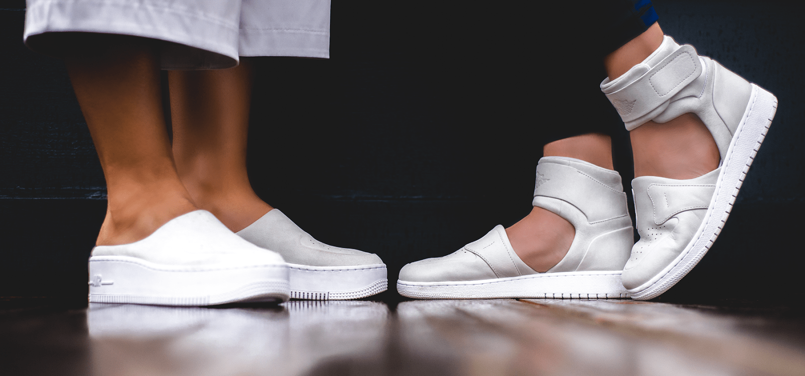 Nike The 1 Reimagined Lover XX Air Force 1 Jordan Jumpman Women Female Design Collective Release Date Where to Buy Closer On Feet Look White Mule Sandal Strap