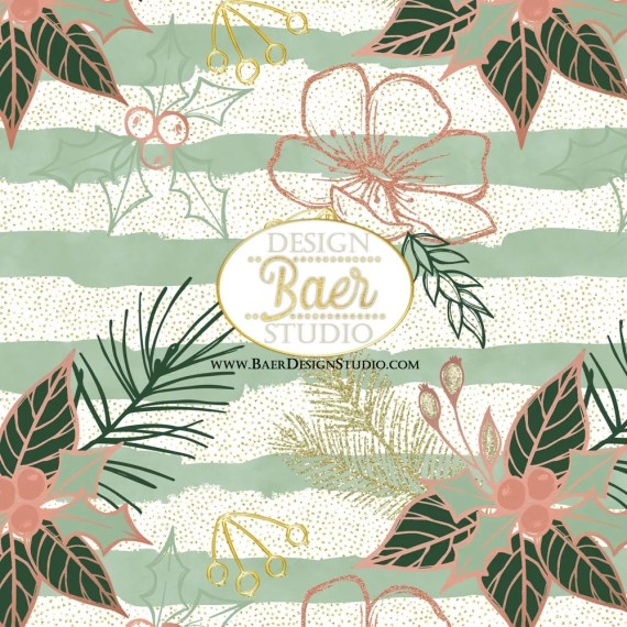 Rose Gold and Green Christmas Paper