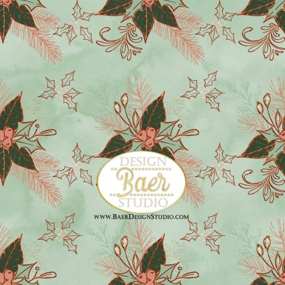 Sage Green Holly Paper