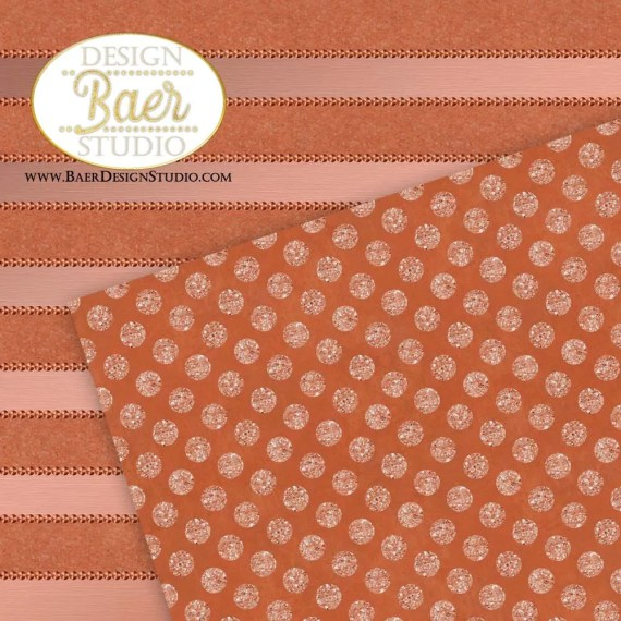 Copper Dots and Striped Paper