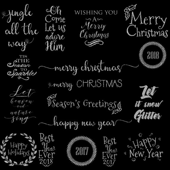Silver Glitter Christmas Word Art