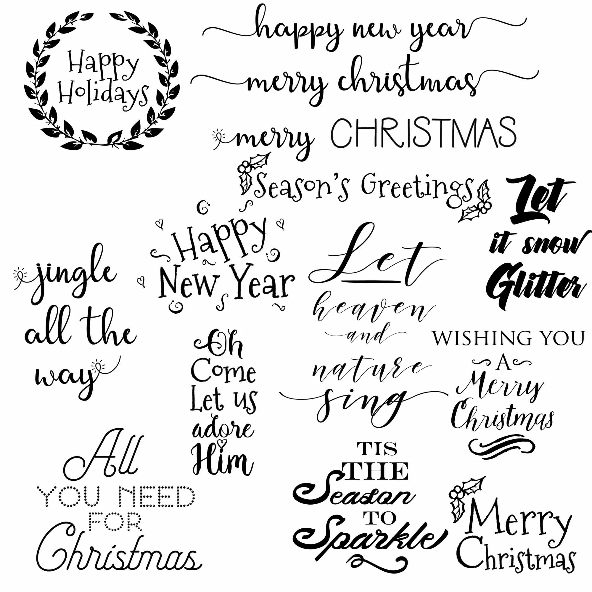Christmas Clipart Photo Overlays Christmas Digital Quotes