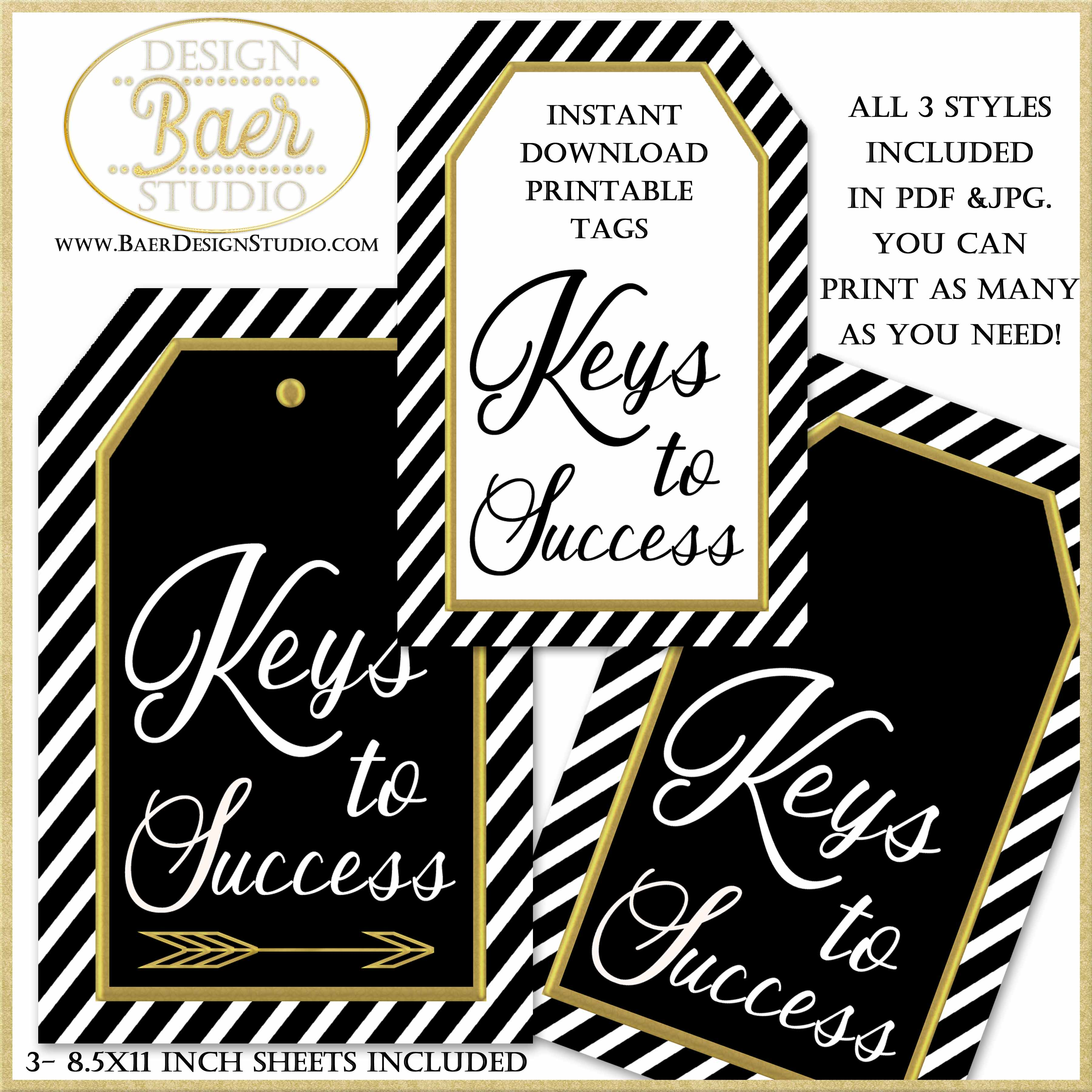 image regarding Printable Keys named Keys in direction of Good results for Commencement Occasion Show, Printable Tags Baer