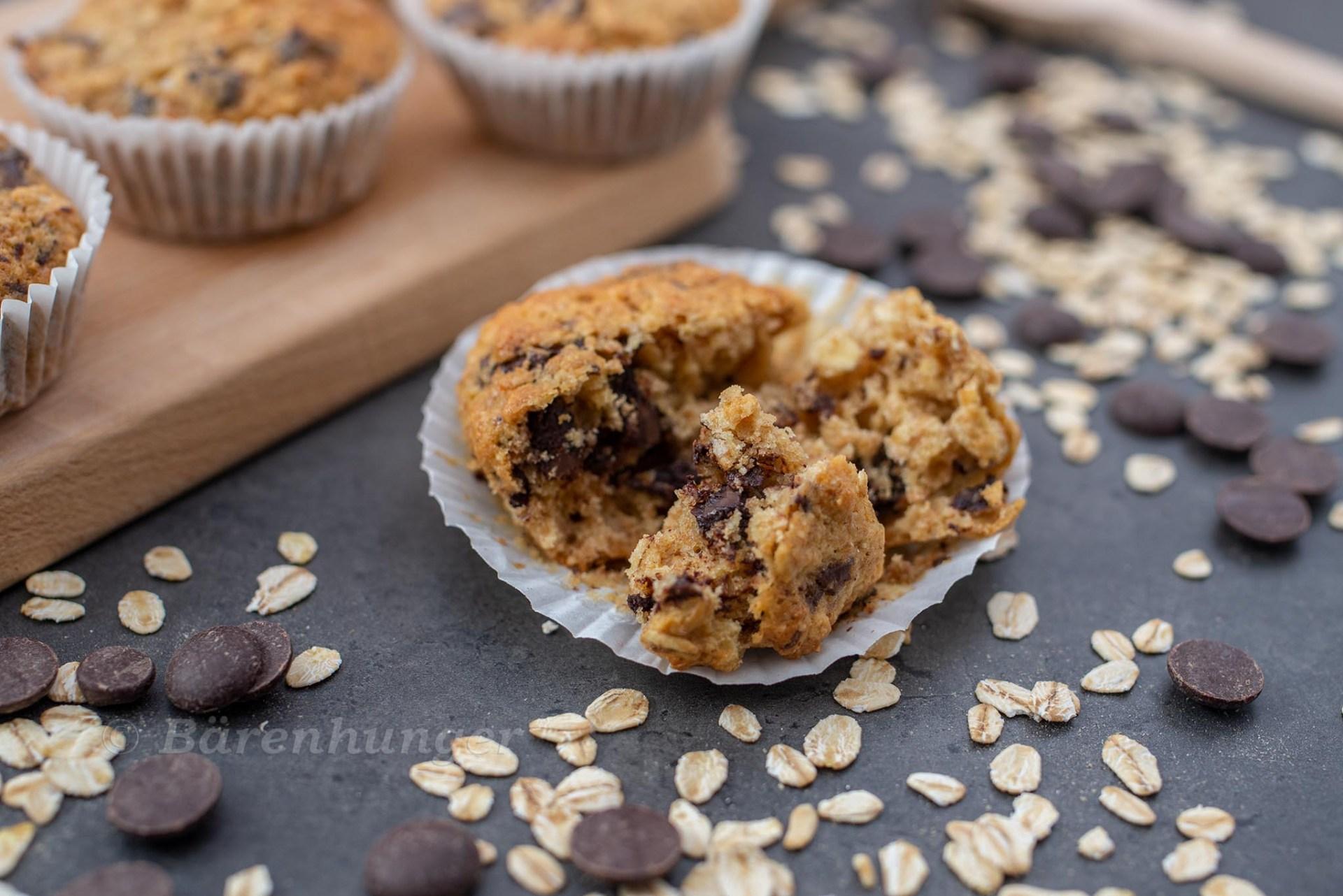 Haferflocken Dinkel Muffins mit Schokostücken