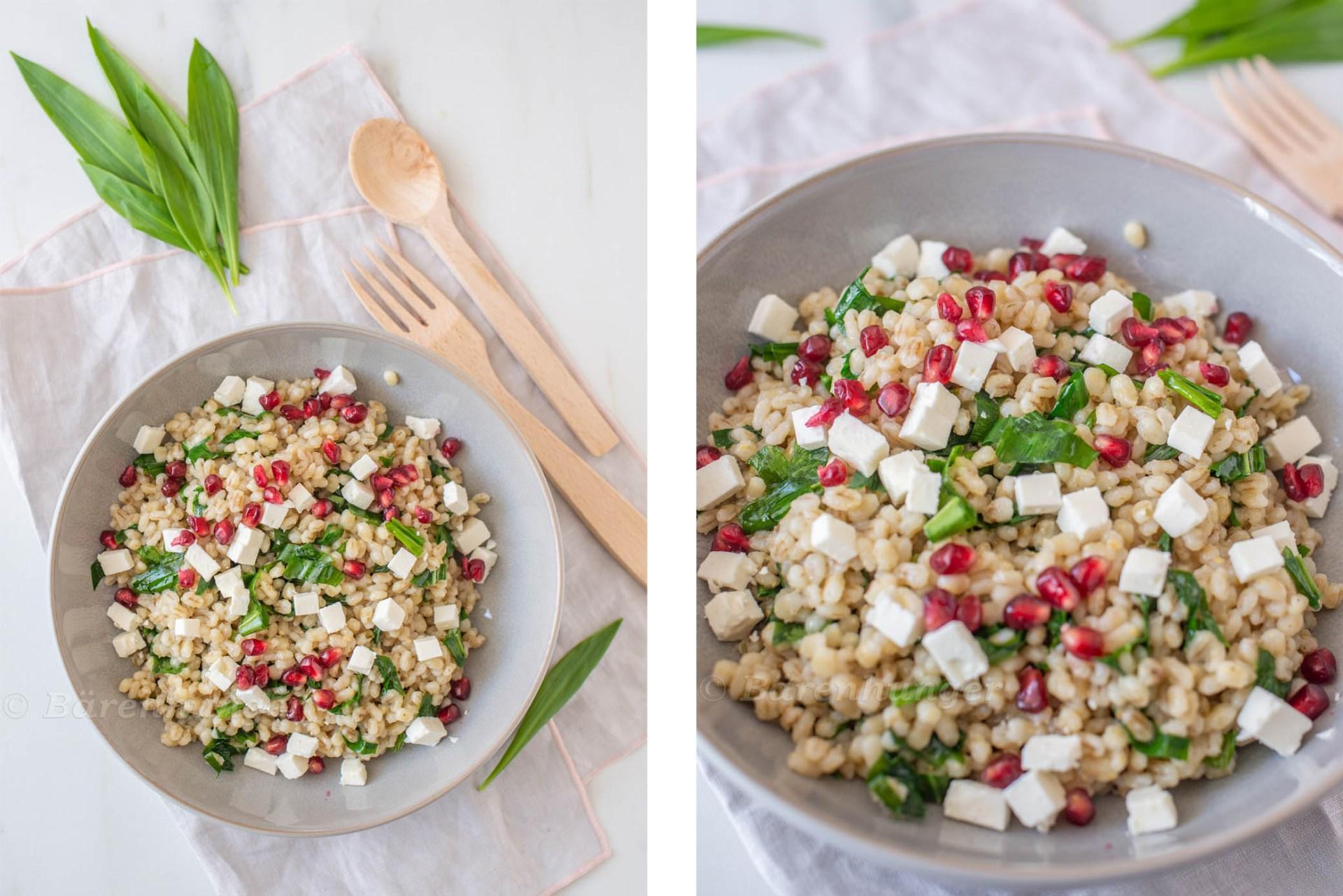 Graupen Salat mit Bärlauch und Feta