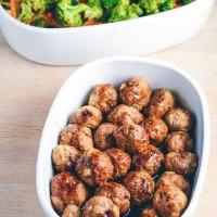 Teriyaki kyllingekødboller med lynstegte grøntsager