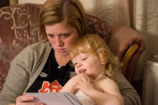 Looking at photos with Auntie Liz