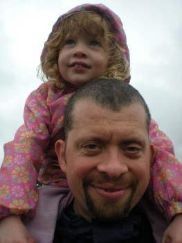 On Daddy's shoulders