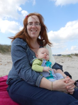 Mommy and Ezra on the beach