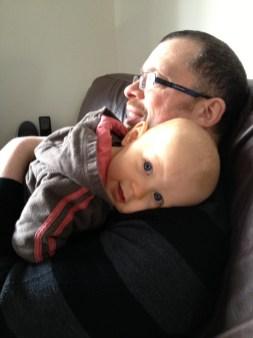 Giving dad a cuddle