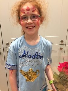 In her Aladdin t-shirt