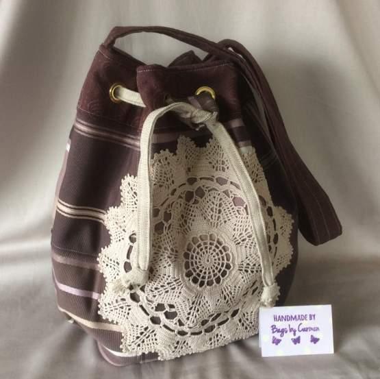 Drawstring brown bag
