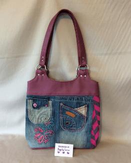 Pink Denim Handmade Tote Bag