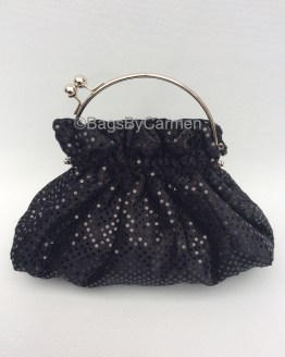 Black Sequin Handmade Evening Bag_Front