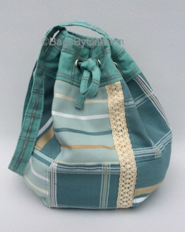 Turquoise Blue Patchwork Handmade Hobo Bag_Front
