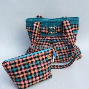 Blue and Pink Check Handbag