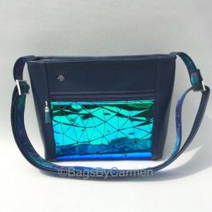 Blue Vinyl Shoulder Bag
