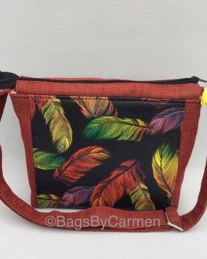 Feather Print Shoulder Bag
