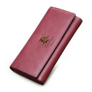 Купить Кошелек женский кожаный пурпурный Laorentou цена фото