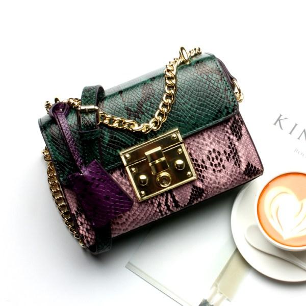 Купить Сумка женская кожаная мультиколор зеленая розовая фиолетовая Esufeir, Mini Flap фото цена