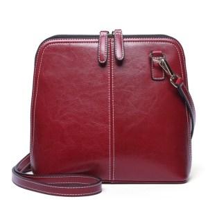 Купить Сумка-мессенджер женская бордовая красная кожаная Esufeir, crossbody фото цена