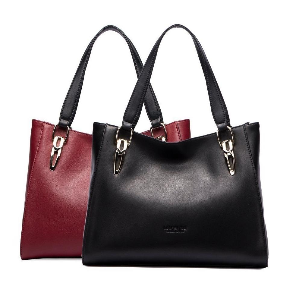 Женская сумка красного черного цвета LAORENTOU®.Натуральная кожа.
