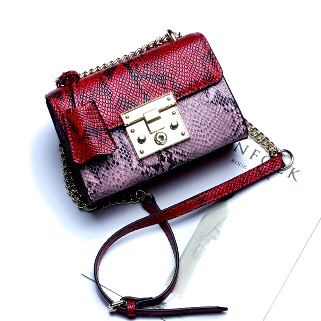 4ccd78dc4693 Купить Сумка женская змеиная кожа розовая красная кожаная Esufeir, Mini Flap  цена фото Киев Днепр