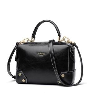 Купить Сумка женская кожаная черная черного цвета Laorentou, Fashion Classic фото цена через плечо