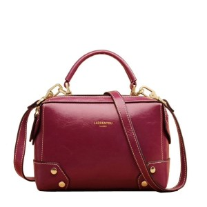 Купить Сумка женская кожаная бордовая пурпурная Laorentou, Fashion Classic фото цена через плечо