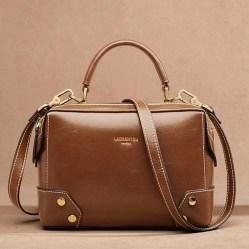 Женская сумка коричневая рыжая коричневого цвета Laorentou, Fashion Classic фото цена через плечо