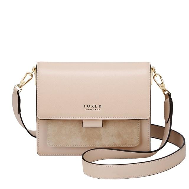 Купить Женская сумка через плечо бежевая кожаная | клатч Foxer, Mini Flap Киев Харьков Одесса Львов Украина