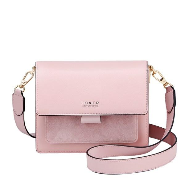 Купить Женская сумка через плечо розовая кожаная с широким ремнем | клатч Foxer, Mini Flap Украина Киев Одесса Львов Запорожье