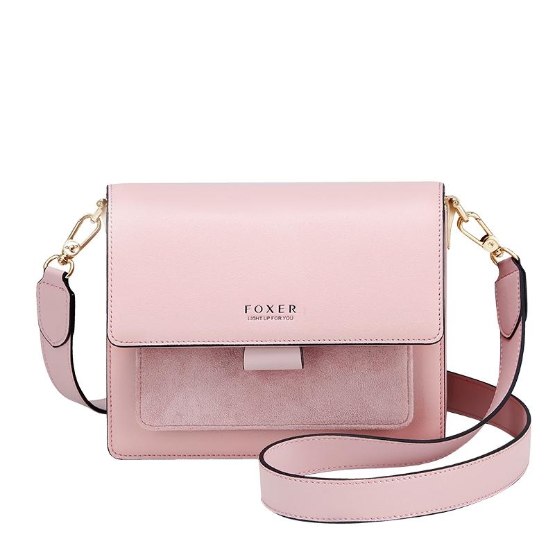 Купить Женская сумка через плечо розовая кожаная | клатч Foxer, Mini Flap Украина Киев Одесса Львов Запорожье